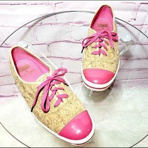 Kate Spade Keds pink top cork shoes
